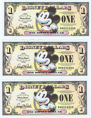 WDW 3 SEQUENTIAL 2008 $1 D Series MINT Disney World Dollar Pie Eyed Mickey Boyer