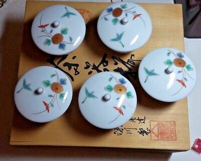 Wooden Oriental Box With Tea Cups 5 Cups With Lids No Tea Pot