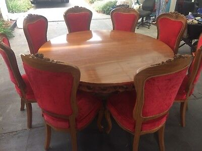 antique vintage Reproduction Rosewood Dining Table Chairs French Provincial