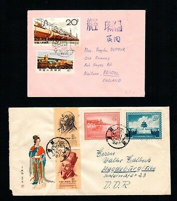 2 Early P. R. China covers to Europe with Lovely stamps,Very Nice