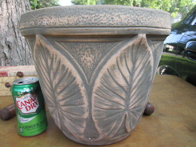 "10 1/2"" tall, 12 1/4"" wide Red Wing flower planter, large leaf pattern.  ""USA"""