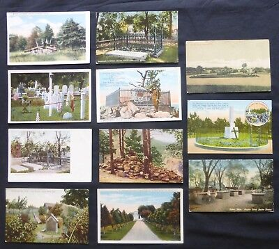 CEMETERIES &  GRAVES  11 Uncirculated Vintage Post Cards  #1691