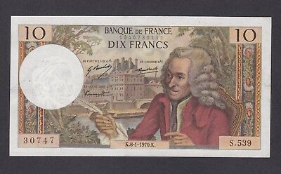 -Auction- France 1970 10 Franc Unc Pinholes