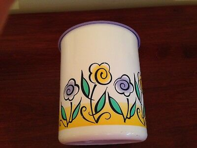 Tupperware One Touch Purple Seal Floral Canister  Made in USA