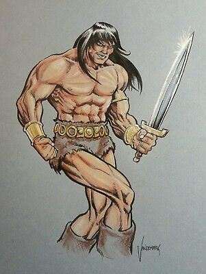 Conan the Barbarian Color Art! Original 9 X 12 color sketch!