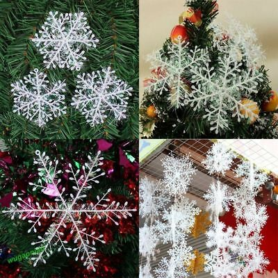 60pcs Classic White Snowflake Ornament Christmas Xmas Tree Hanging Decoration