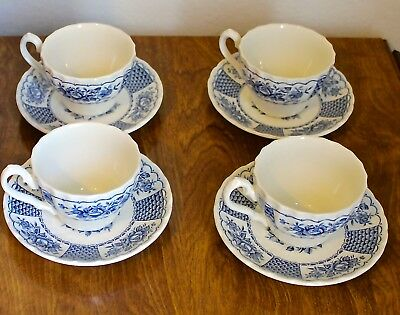 Myott Melody Blue & White Tea Cup and Saucer Made in England ~ Set of 4