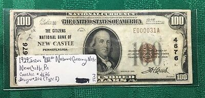 1929 Very Low Serial No. $100 National Currency Note Series New Castle, PA