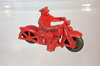 Vintage 1930s Hubley Cast Iron Red Police Motorcycle w/Black Tires - Made in USA