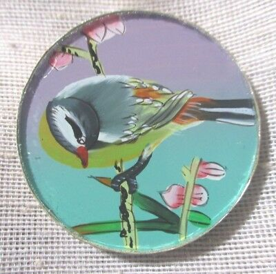 VINTAGE BUTTON REVERSE PAINTED BIRD & FLOWERS SHARD GLASS FROM CHINA -- 1-3/8th