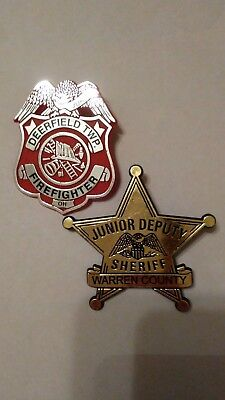 Junior Toy Play Police and Firefughter Badges