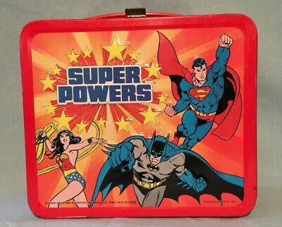 Super Powers Lunch Box & Thermos Bat Man Wonder Woman Super Man - 1983