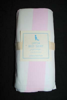 NWT NIP Pottery Barn Kids Layla Pink White Stripe Baby Girl Bedding Crib Skirt