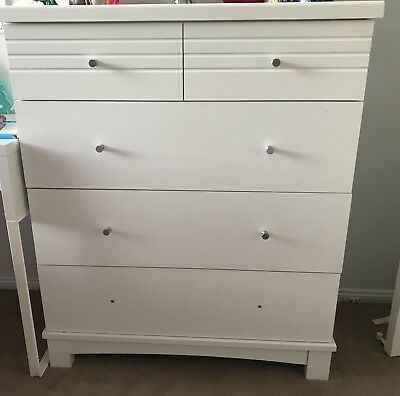 White  Chest of Drawers with FREE Bedside Table