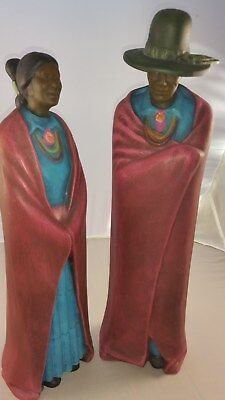 Vintage Mexican Couple Ceramic Figurines 17 inch (43 cm)  high