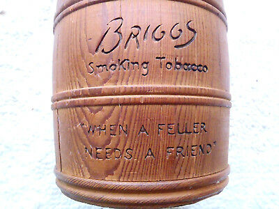 Vintage Briggs Smoking Tobacco Wood Barrel Humidor With Lid Excellent Condition
