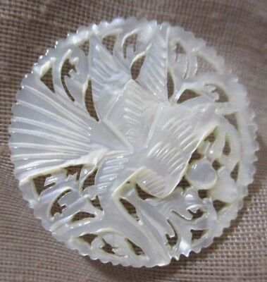 WOW! VINTAGE XL CARVED MOTHER OF PEARL BUTTON LG BIRD w PIERCED LACY BACKGROUND