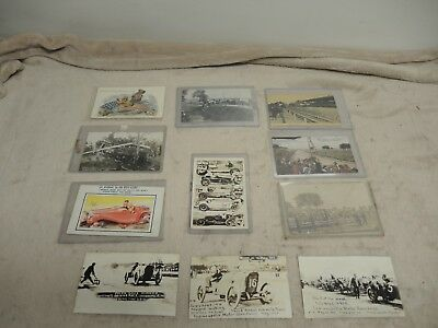 11 vintage antique  / auto racing postcards, hillclimb, auto racing, Indy 500,