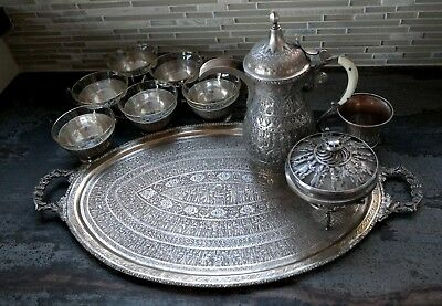 Beautiful Antique Persian Solid Silver Tea Set Persepolis Takhte Jamshid Design