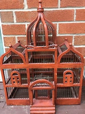 Vtg. Large Victorian Taj Mahal Wooden and Metal Wire Birdcage