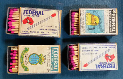 Federal Safety Matches 4 boxes - used Made in Australia