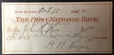 The First National Bank of Havre De Grace, MD, Oct 25, 1890 - Fair condition