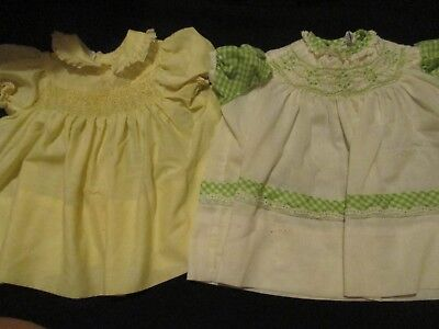 Lot Of 2 Vintage Infant Polly Finders Hand Smocked Dresses