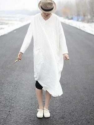 Chinese Women's Robe Solid Cotton Linen National Retro Loose Maxi Dress Gown