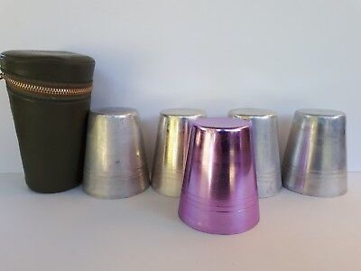 Collectable vintage anodised cups in case
