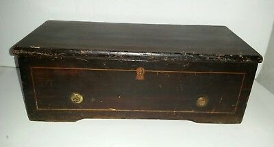 """c1840 Antique 12"""" Cylinder Wooden Music Box - AS IS for parts or restoration"""