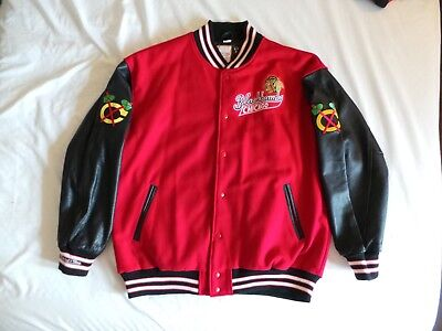 Mitchell Ness M&N Authentic Chicago Blackhawks Wool Leather Felt Jacket s 56 3XL
