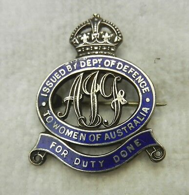 AIF WWI Sterling Silver 'Women of Australia - For Duty Done' Badge