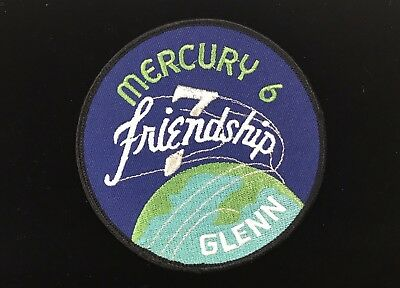 "John Glenn / Friendship 7 / Mercury 6 Modern Era 4 "" Round Patch Silver Thread"