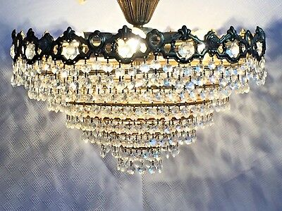 Chandelier, Antique Brass and Crystal. French/Spanish, 43cm. Flush Mount. (154)