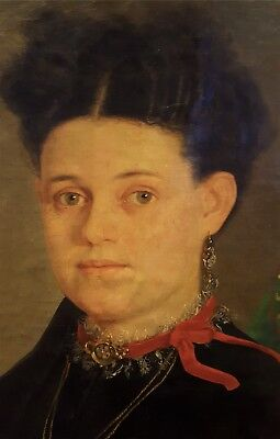 Antique 19th Century 33x28 Oil on Canvas Portrait Painting of Young Woman Gothic