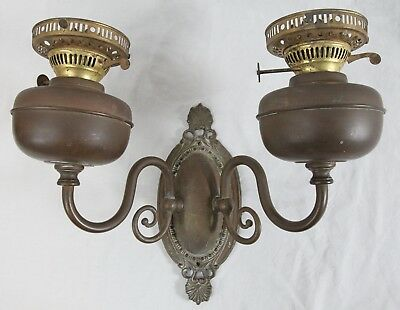 Antique Duplex Victorian Brass 2-Arm Wall Sconce Oil Lamp Electrified