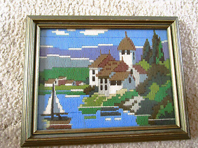 Framed Completed Long Stitch Of A City By The Sea. Frame 28 X 22Cms With Glass