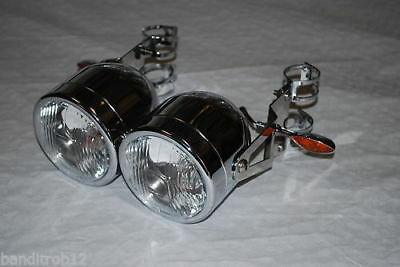 CHROME Twin Dominator Headlights Brackets Indicators Bandit GSF600 39-42mm Forks