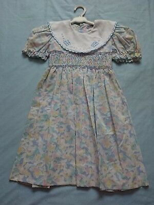 Vintage Marquise Girls Party Dress Size 4 blue Butterflies Wedding Flower Girl