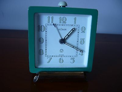 Antique LeCoultre 2 day alarm travel clock 55 x 55 x 23 mm.