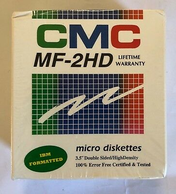 """CMC MF-2HD micro diskettes New Sealed in Box 3.5"""" Dble Sided/High Density"""