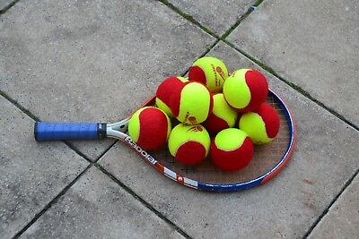 Tennis racket and 10 red balls for 3~5 year old kids