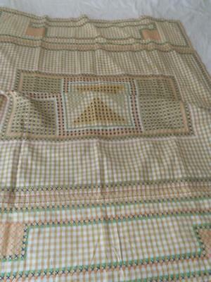 Vintage 1960S Beige White Gingham Table Cloth Colourful X Stitch 110 X 228 Cms