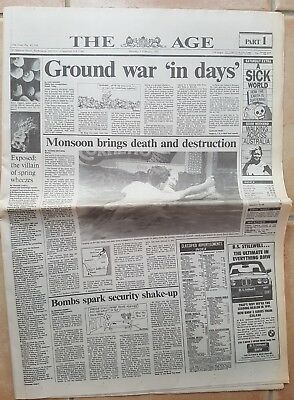 1991 GULF WAR newspaper THE AGE Melb. dated FEB. 9th. nice clean copy