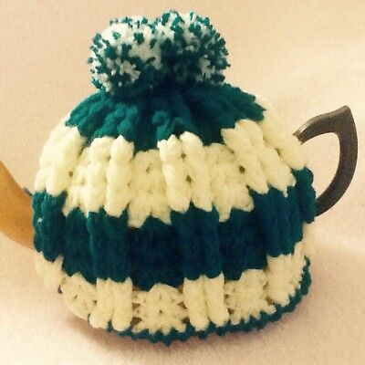 Hand Crocheted Tea Cosy Green And Cream