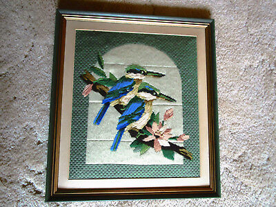 Professionally Framed Long Stitch Of Kingfishers & Flowers 39 X 43Cms