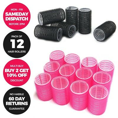 12 PACK Plastic Hair Rollers Curlers Pro Self Grip - Small Medium - Pink & Black