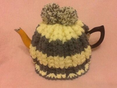 Hand Crocheted Tea Cosy Grey And Lemon Colours
