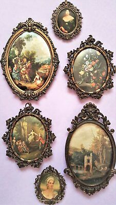 Vintage 6 x FRAMED SILK PICTURES Spelter Metal Frames Made in ITALY 3 Have Glass