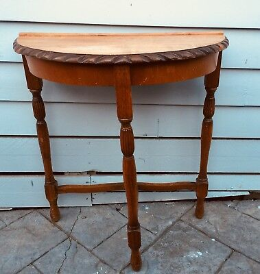 Lovely Old Hall / Side Half Round Table With Turned Legs